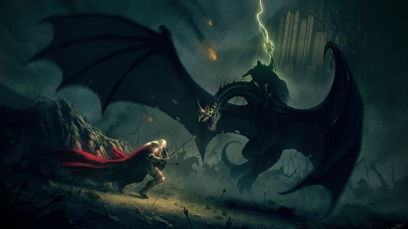 minas tirith battle duel the lord of the rings fantasy art nazgul eowyn the witch king the return of_www.wallpaperhi.com_91